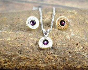 Bullet Jewelry Set ~ Winchester 45 Colt ~ Amethyst Swarovski Gemstones ~ Necklace and Earrings