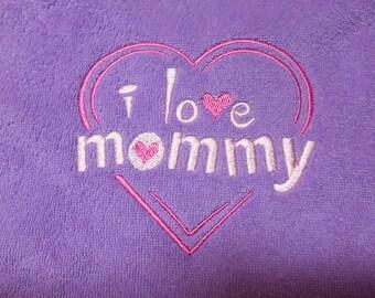 Baby Bib I Love Mommy Bib Purple Embroidered Bib Baby Girl Bib Gift Idea for Baby Shower Gift