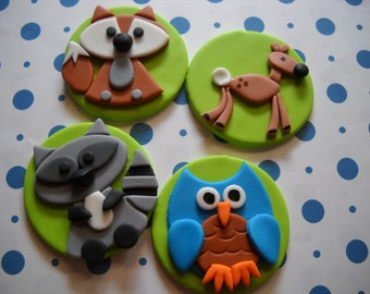 Woodland Friends Edible Cupcake Toppers - Set of 12
