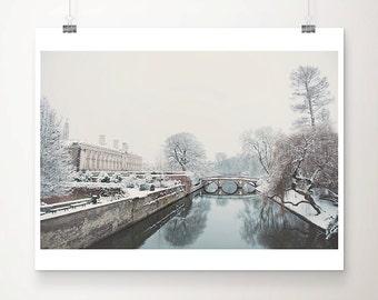 cambridge photograph winter photograph snow photograph travel photography river cam photograph tree photograph water reflection photograph