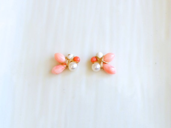 Pink coral and freshwater pearl cluster stud earrings