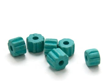 Turquoise Greek Ceramic Gear Beads, Turquoise Large Gear Beads 8x6mm- 6 pcs C 10 292