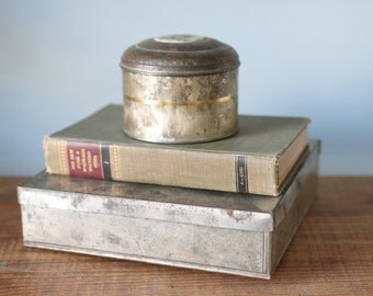 Industrial Vintage Lidded Metal Storage Box