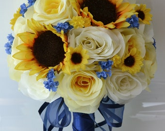 "17 Piece Package Silk Flower Wedding Decoration Bridal Bouquet Sunflower YELLOW IVORY Dark BLUE ""Lily Of Angeles"" BLYE02"
