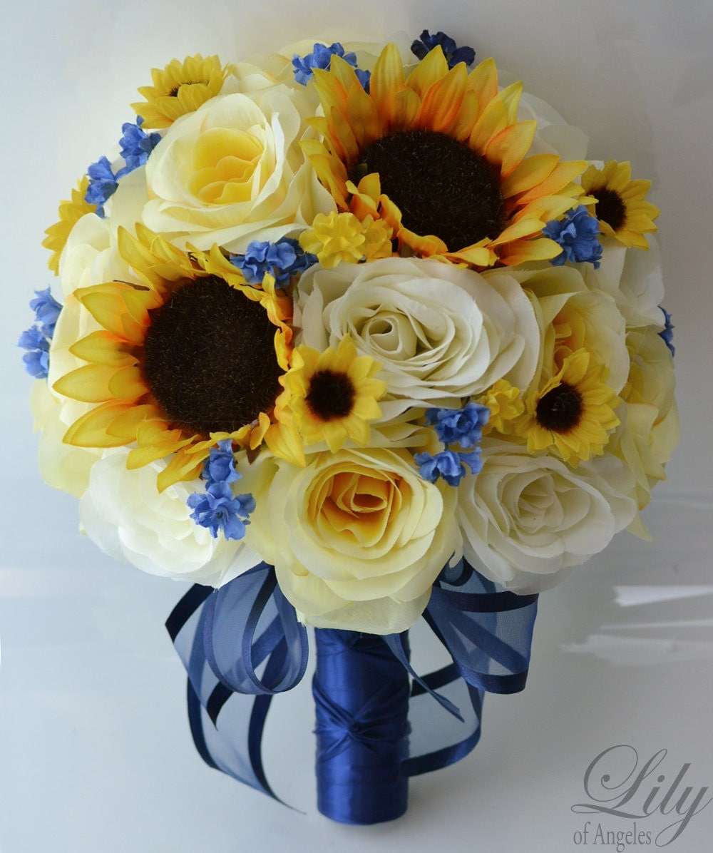 17 pieces package silk flower wedding bouquets centerpieces 17 piece package silk flower wedding decoration bridal bouquet sunflower yellow ivory dark blue lily dhlflorist Image collections