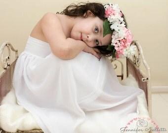 White Chiffon-Jersey Girl Dress  Children gown, Matching to Chiffon Maternity Gown