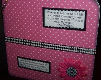 Black, White and Pink 6x6 Chipboard Scrapbook (Mother's Love III)