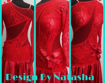 Red Dance Dresses  Red Lace Dance Dress  Dance Dress for Smooth Dance