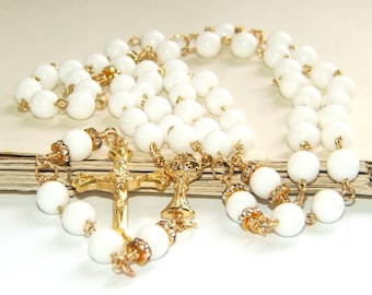 First Holy Communion Rosary, White & Gold Traditional Catholic Rosary