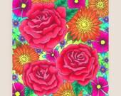11x14-in Roses Illustration Print.