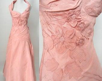 Vintage Pink Dress, Vintage 80s Pink Gown, Vintage Prom Dress, Wedding Gown, Retro Pink Bridal Dress, Lolita Lempicka Paris, Couture Dress