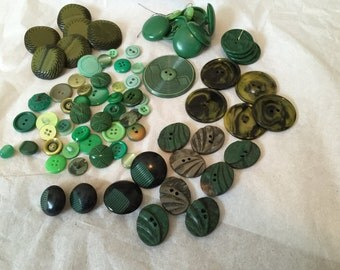Vintage Mixed Greens Plastic Acrylics Buttons Lot / 81 PC