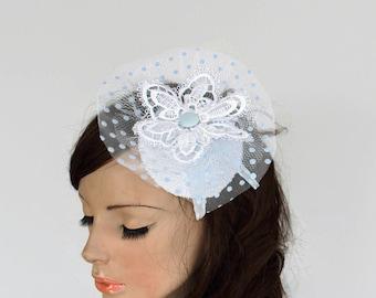 Bridal Hat Fascinator, Cocktail Reception Hat Blue Polka Dot Tulle Venetian Lace Applique Headdress Bridal Headpiece Modern Wedding Hair