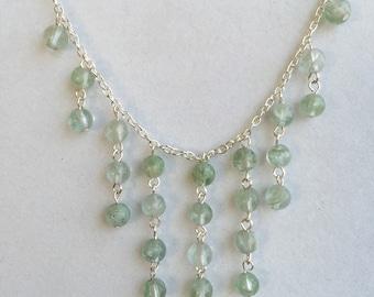 Cascading aqua gems necklace and earring set