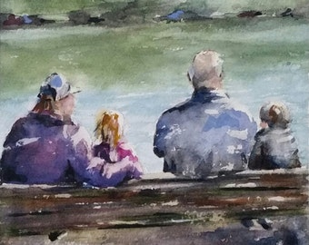 lake, children playing, girl, grandparents, kids, park bench, figurative. Family Time. original watercolor painting (6""