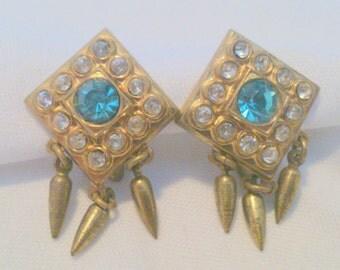 Vintage Aqua and Clear Rhinestone Earrings