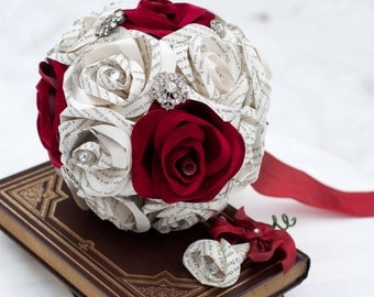 Book Page and Sueded Rose Broach Bridal Bouquet with Rhinestones