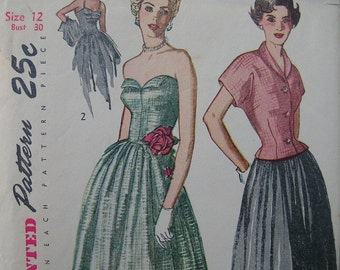 Fabulous Vintage 40s Misses' SUNBACK DRESS And JACKET Pattern