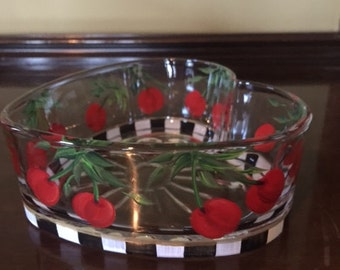 Hand Painted Glass Candy Dish - Cherries Jubilee