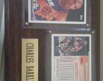 Vintage Charles Barkley Topps Gold Cards and Plaque