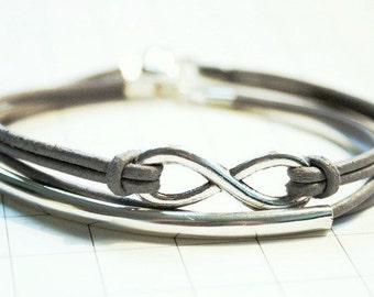 Eternity Infinity & Tube Leather Bracelet silvercolored - friendship forever twin sister mother daughter besties best friend gift jewelry