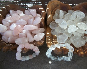 Sale ROSE QUARTZ Tumbled Polished Stones Clear Quartz Stone Stretch Bracelet Sea Salt Gift Box Love Romance Aura Crystal Heal Meditate Reiki