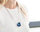 "Lapis Lazuli Pendant Necklace, Multi Size Silver Chain - ""Spike"""