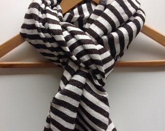 Mens Brown scarf- Brown & creme wool striped men's scarf-Wool Cotton mix scarves and wraps- Menswear handmande Accessories- Gift for Him