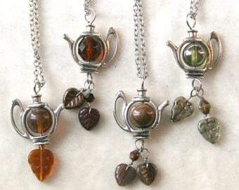 Silver Teapot Tea Leaves Necklace, brown topaz green pietersite