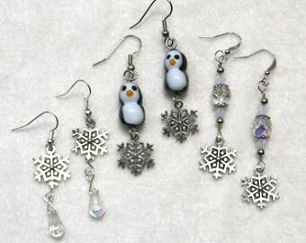 Silver Snowflake Earrings Penguin