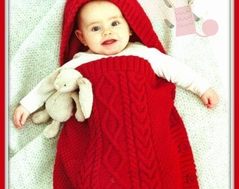 PDF Knitting Pattern for a Babies Cabled Sleeping Bag or Cocoon - Instant Download
