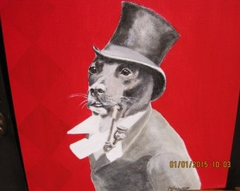 Hand Painted Vintage Dog in Top Hat Painted on Canvas - READY TO SHIP