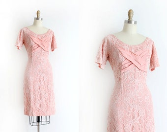vintage 1950s dress // 50s pink lace wiggle dress