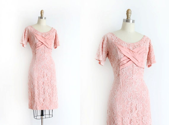 clearance vintage 1950s dress 50s pink lace wiggle dress