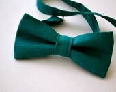 Bowtie in Teal Linen, Mens Bow Tie, Groomsmen Bow Tie, Wedding Bow Tie, Adjustable Bow Tie, Pre Tied Bow Tie, by AmandaJoHandmade on Etsy