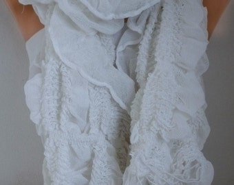 White Ruffle Cotton Scarf Summer Scarf, Cowl Scarf,Bridesmaid Gift,Birthday Gift,  Gift Ideas For Her Women's Fashion Accessories
