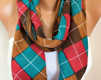 Teal & Brown Plaid Cotton Infinity Scarf,Tartan Scarf, Cowl Scarf, Circle, Loop Oversized Gift Ideas For Her, Women Fashion Accessories