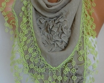 OOAK Scarf, Beige Cotton Floral Scarf, Summer Scarf Cowl Lace Shawl Necklace Bridesmaid Gift Gift Ideas For Her Women Fashion Accessories
