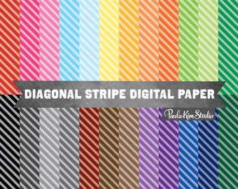 Diagonal Stripe Digital Paper, Backgrounds for Commercial Use, Instant Download