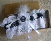 Handmade Nightmare Before Christmas Jack Skeleton  Bride Wedding Garter