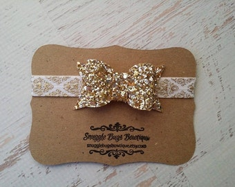 Chunky Gold Glitter Bow Headband -  Metallic Gold Damask - Newborn Baby to Adult - Hair Bows