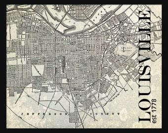 Louisville City Map - Louisville Street Map Vintage - Tile Map - Gray Grunge Vintage