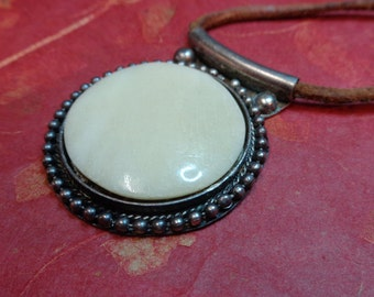 Agate Pendant on Leather Necklace