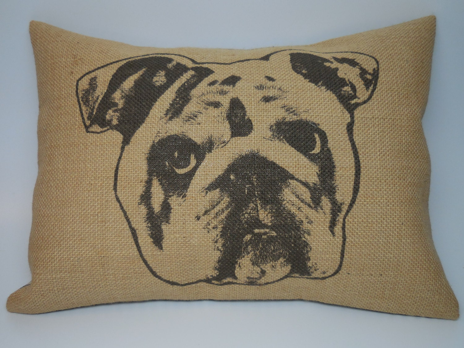 Bulldog face Burlap Pillow Shabby Chic Pets Dogs INSERT