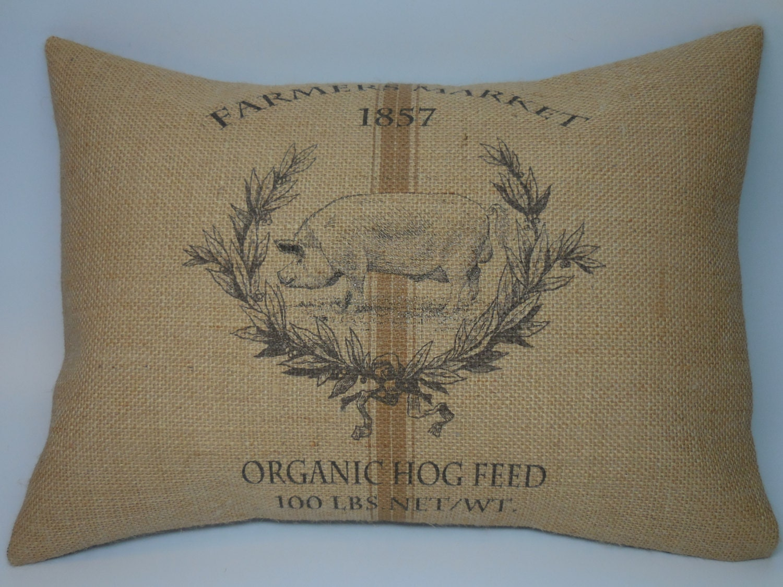 Hog Burlap Pillow Feed Sack Style Farmhouse Pillows Insert