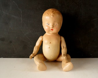 Vintage / Antique Composition Baby Doll with Molded Hair and Jointed Arms and Legs (10 inches) N2 - Collectible, Doll Parts