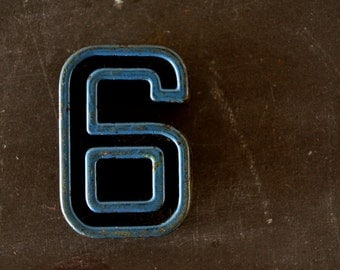 """Vintage Industrial Number """"6"""" / """"9"""" Black with Blue and Light Orange Paint, 2"""" tall (c.1940s) - Monogram Display, Shadow Box Number, Art"""