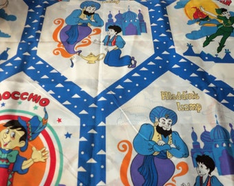 Pinocchio Aladdin Peter Pan Fabric Vintage Perfect curtains Quilt Pillows  1 yard 34""