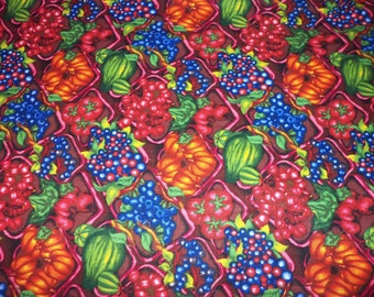 Fruit & Vegetables Fabric Great Array of Blueberries Tomatoes Squash Peppers Farmers Market By The Fat Quarter New BTFQ