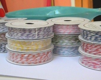 Bakers Twine - 10 spools - 5 yards each - thin bakers twine in a range of colors -packaging supplies - gift wrap - scrapbooking
